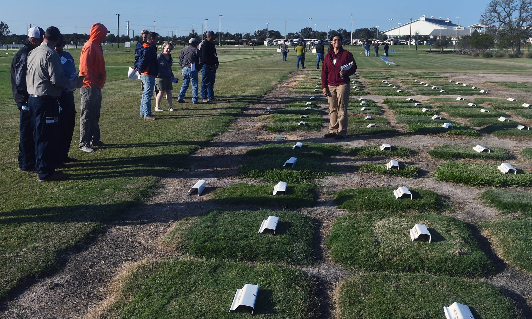 Ambika Chandra in turf research field, College Station