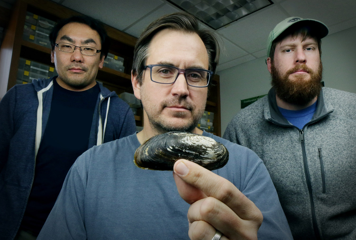researchers with Texas hornshell