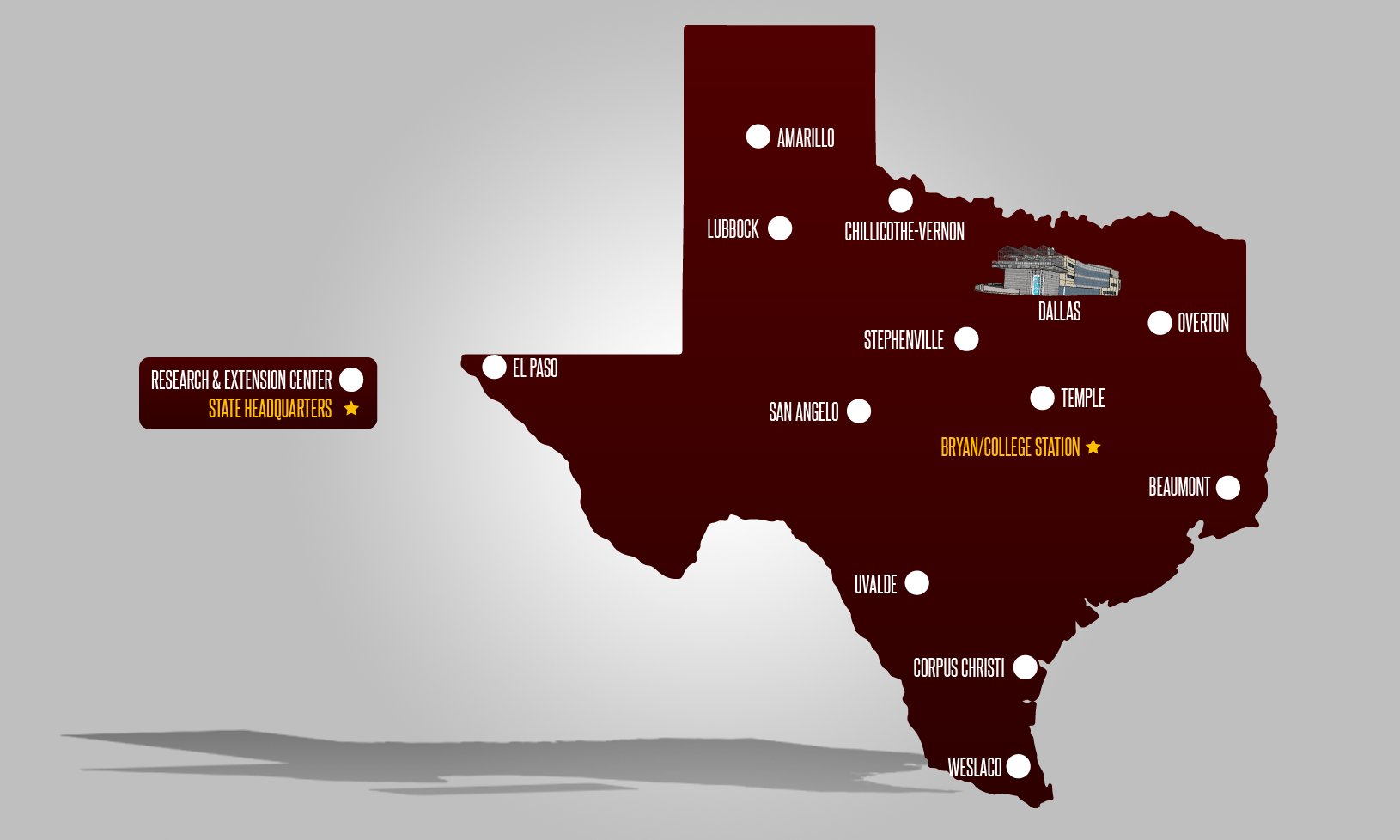 Texas map of AgriLife Centers